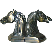 SALE Bookends, spelter or horseheads, in excellent condition circa 1940