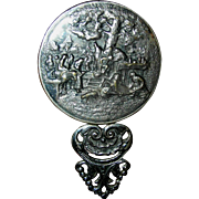 SALE Pewter or spelter, small, pocket mirror with orignal beveled mirror and having a pastoral