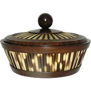 SALE Vintage Olive Wood and Quill, African, round, covered box, all original with label - pris