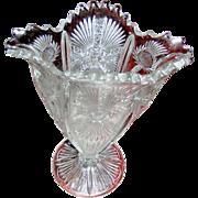 SALE Pattern Glass Vase, Thistle pattern, medium size, circa 1900