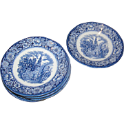SALE Lot of 9 Historical Staffordshire, Blue and White coffee-cup saucers marked, Early 20th c