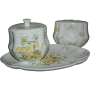 SALE Three piece Laura Ashley bathroom set, platter, covered bowl, and toothbrush holder, ...
