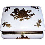 SALE Vintage Porcelain hinged box with a gold rose motif in excellent condition: possibly Fren