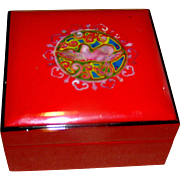 SALE Red Lacquered box with a mother of pearl dove on the face, late 20th c.