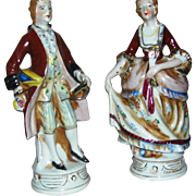SALE Porcelain Pair of figurines depicting a Colonial Couple. Excellent. middle 20th c. Made i