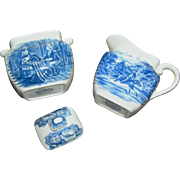REDUCED Vintage creamer and surgar, Liberty Blue Staffordshire, Betsy Ross and Paul Revere, ex