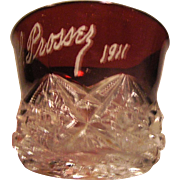 Ruby Flashed Red cup signed PL Prossey and dated 1911: Excellent condtion.