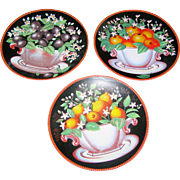 SALE Three Decorative Wall Plates of assorted fruit. Excellent!