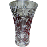 REDUCED Brilliant Cut Glass vase for long stemmed flowers, Crystal clear heavy lead!