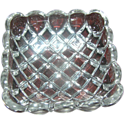 SALE Lead Crystal Square Dish, with a motif of little squares, excellent condition.