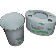 SALE Toothpaste holder and matching cup in a Lotus patter, made in Japan