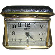 SALE Clock, Linden travel alarm, vintage, leather