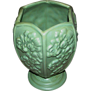 SALE Haeger Vase:six panels:floral motif:pale green:excellent