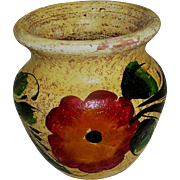 SALE Vintage Clay Pot, marked Mexice, handmade and hand painted, 20th c.