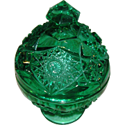 SALE Green Pressed Glass, candy dish, with a covered top, molded is a three sectional mold, an
