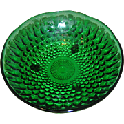 SALE Green Depression Glass Dish with hobnails measuring 6.5 inches in circumference.