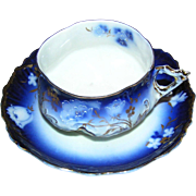 SALE Brilliant Cup and Saucer:Bavarian:marked:hand accents of gold