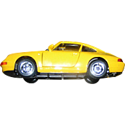 SALE Toy car model, light metal, yellow porsche, with doors and trunk that open and ...