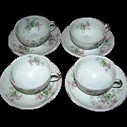 SALE Lot 4 Limoges cups and saucers, floral decor
