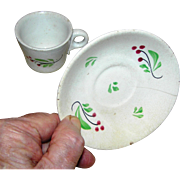 SALE Ironstone cup and saucer, hand painted, very early