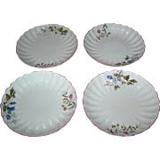 SALE Set of Four fine china plates with floral motifs and scalloped borders, very early!