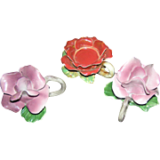 SALE Capidomonter Candle holder set, Flower and foilage motif