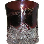 SALE Flashed Ruby glass sourenir or commemorative glass cut with handle marked Canaan, NH