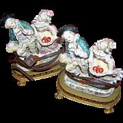 SALE Boudoir Lamps, Pair, working, Louis XV1 manner, excellent
