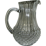 SALE Pressed Glass pitcher, crysral clarity, convenient size, mid. 20th c.