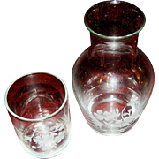 SALE Tumbler with matching glass in a floral motif, mid 20th c.