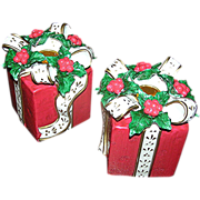 SALE Pair of Christmas wrapped packages as candle holders, Exc.