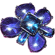 SOLD Stunning Blue, Cut crystal, Vintage Pin!