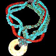 SALE Faux plastic turquoise, coral, necklace