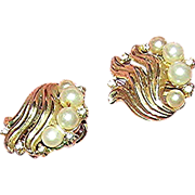 SALE Pair of Trifari, simulated pearl and rhinestone earrings, marked
