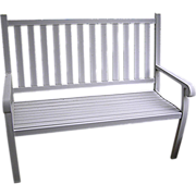 SALE A Patio bench, cast white aluminum, Torpedo Co.