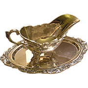 SOLD Wallace silver plate gravy pitcher with under plate, signed, No initials