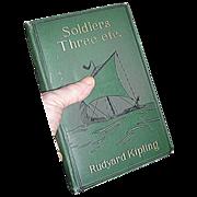SALE Hardblack Book entitled Soldiers Three by  Rudyard Kipling