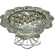 Lead crystal clear candy dish compote with petal border and cross-hatching