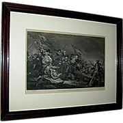 SALE Print:Engraving, American, Revolutionary war, bunker hill