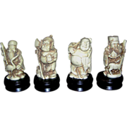 SALE Oriental figurines;resin, Budhist or Shinto, miniature statues