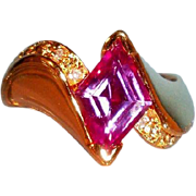 SALE Vermeil Asymmetrical Ring with Lab Created Red Violet Sapphire and CZs, Size 9