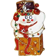 SALE Vintage Christopher Radko Snowman Jack in the Box Brooch