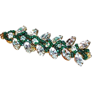 SALE Sparkling Miriam Haskell Bar Pin with Crystal Clear Rhinestones and Dark Green Glass Bead