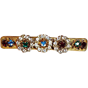 SALE Miriam Haskell Bar Pin with Red, Green, Blue, and Crystal Clear Rhinestones