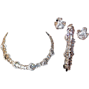SALE Brilliant Eisenberg Parure: Necklace, Clip Earrings, and Bracelet with Crystal Clear Rhin
