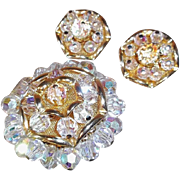 SALE Glitzy Elegant Brooch and Clip Earrings Set with Aurora Borealis Crystal Beads and Goldto