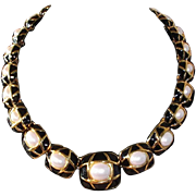 SALE Classic Elegance Napier Black Enamel, Goldtone, and Imitation Pearl Necklace, 1980s