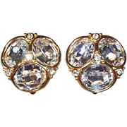 SALE Brilliant Prismatic Swarovski Crystal Clip Earrings