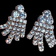 SALE Vintage Pale Blue Rhinestone Chandelier Earrings with Screw Back Closure
