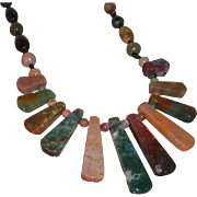 SALE Vintage Polished Multi-Colored Moss Agate Stone Long Necklace